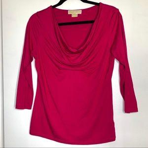 Michael Kors Sz M hot pink drape front shirt